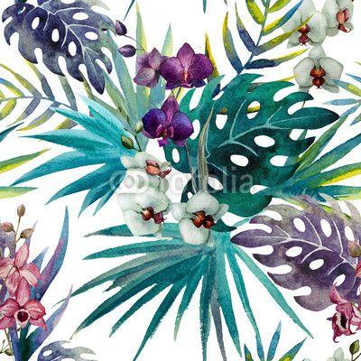 Fototapete pattern orchid hibiscus leaves watercolor tropics - isolierte • PIXERS.de
