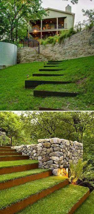 53 Cool Backyard Pond Design Ideas: Best 25+ Landscaping A Slope Ideas On Pinterest