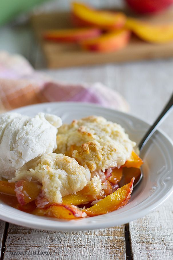 Coconut Peach Cobbler Recipe - Taste and Tell