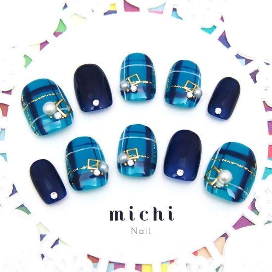 ネイビー*ブルーのパールタータンチェックネイル - ネイルチップ(つけ爪)専門店ミチネイル