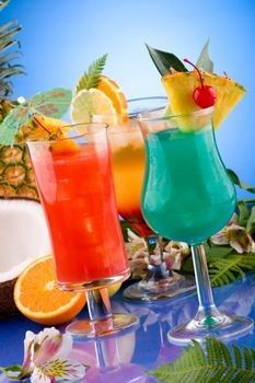 3 tropical drink recipies; Mai Tai; Blue Hawaiian, and Lava Flow