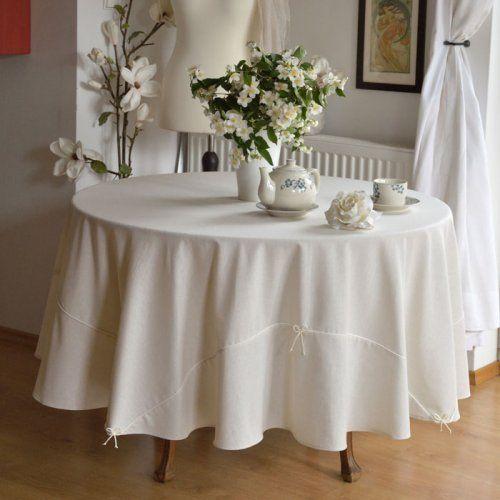 OBRUS OKRĄGŁY LNIANY ECRU Fi 200 cm SHABBY Obrus ozdobiony delikatną bawełnianą lamówką i okardkami z tasiemki szutasz w kolorze ecru.