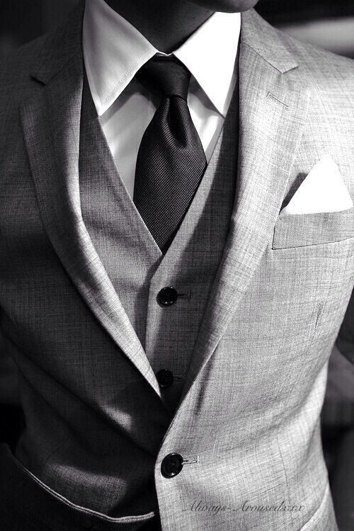 Always stylish: 3-piece suit in stone gray, charcoal or black solid tie, white shirt, and white silk pocket square