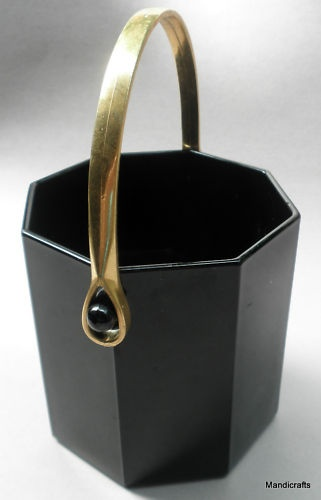 Vintage Arcoroc France Ice Bucket Black Glass Octime Octagon Pattern, Gold Handle 28 fl oz