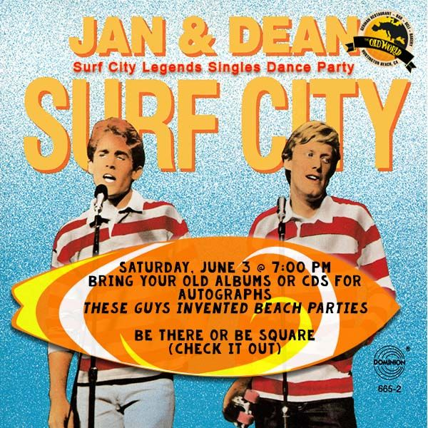 Singles Dance Party! Sat. 6/3, 7PM  $10  OC's hottest singles Dean Torrence (Jan&Dean) 9pmish.  DJ John 70s, 80s & 90s music on breaks.  #70s80s90s #music #jananddean #singles #dance #party #hb #oldworldhb