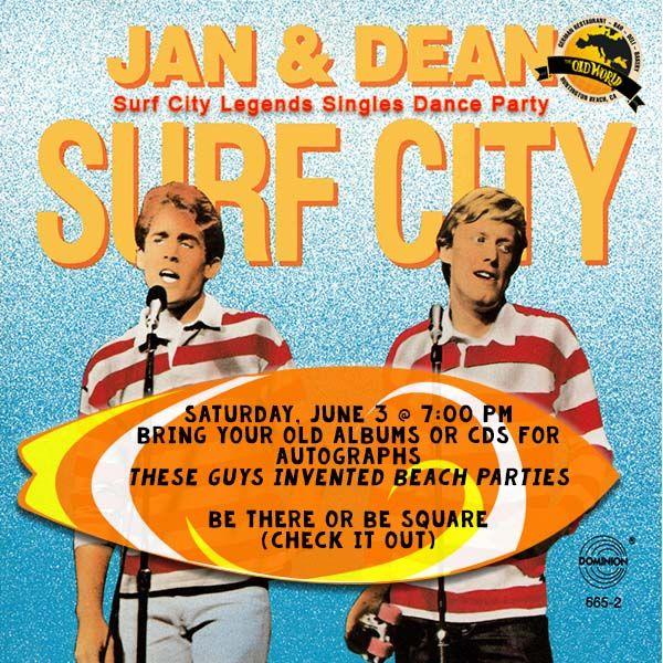 Singles Dance Party! Sat. 6/3, 7PM  $10 OC's hottest singles Dean Torrence (Jan&Dean) 9pmish.  DJ John 70s, 80s & 90s music on breaks.  #70s80s90s #music #jananddean #singles #dance #party #hb #oldworldhb
