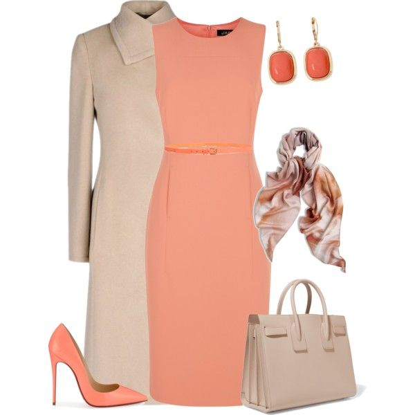 A fashion look from March 2016 featuring Jaeger dresses, Armani Collezioni coats and Christian Louboutin pumps. Browse and shop related looks.