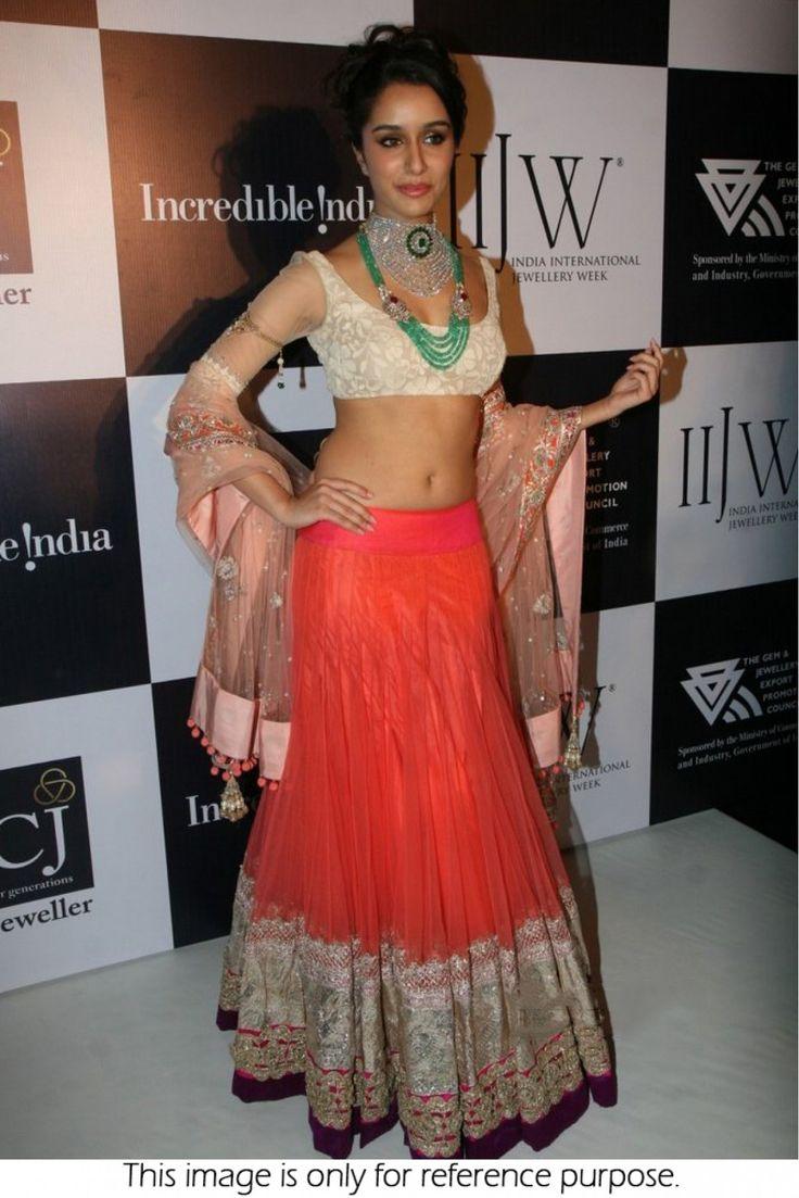 Bollywood Style Shraddha Kapoor Net Lehenga In Orange Colour #ShraddhaKapoor #Lehenga #bollywood
