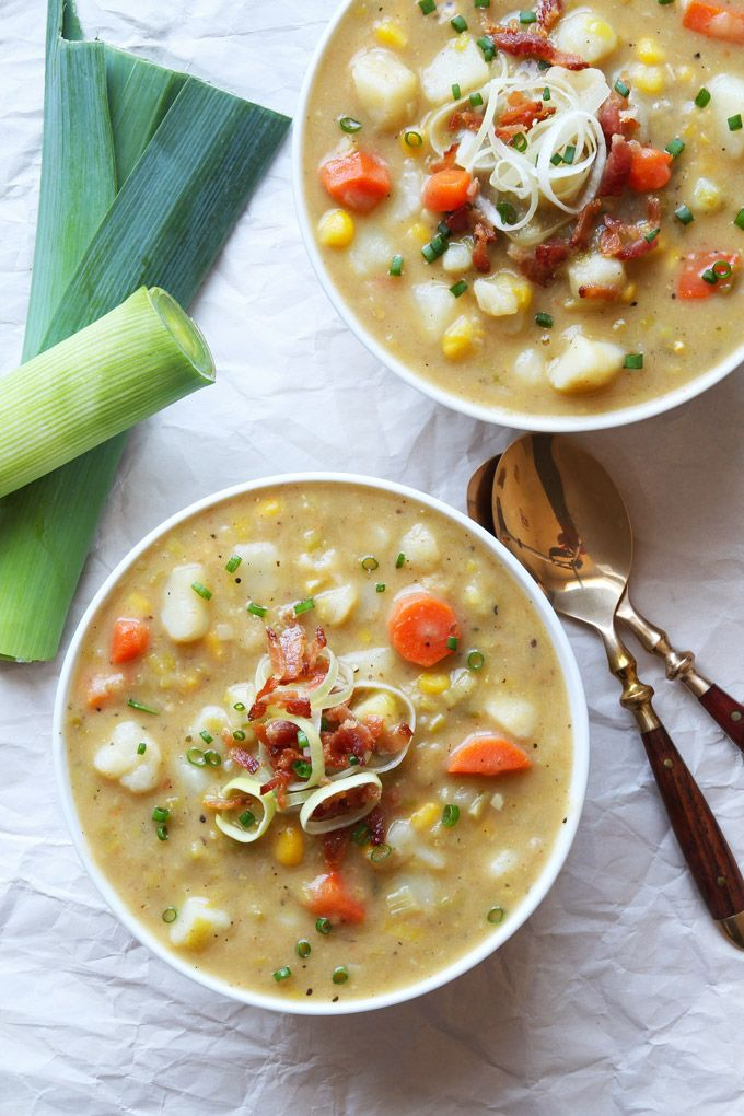 This creamy vegetable soup with leek, potatoes and carrots is dairy-free. It is comfort food for the entire family.