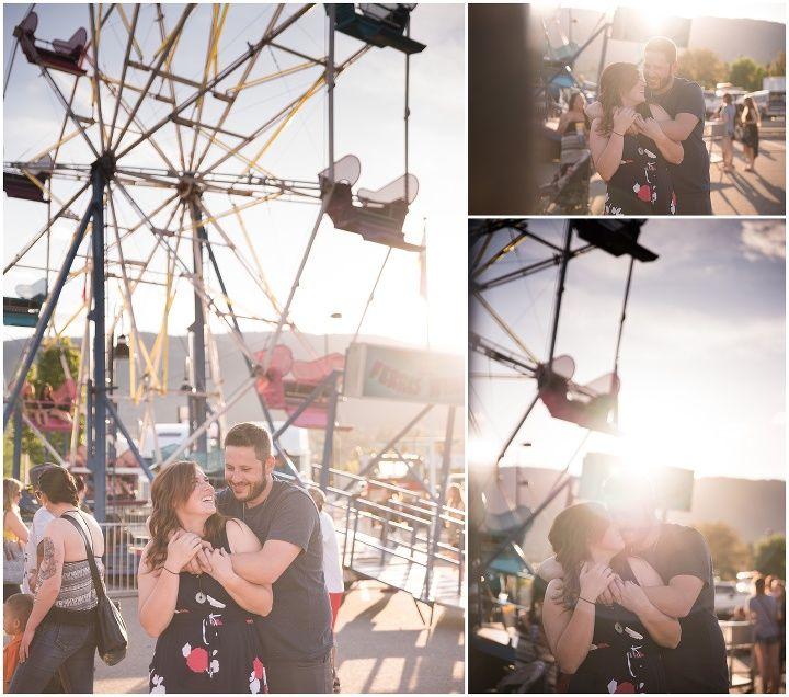Sunset ferris wheel engagement session