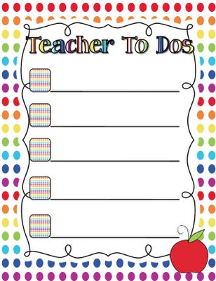 To Do List for teachers! Such a cute and easy idea!