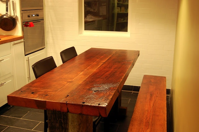 custom wood dining table built by West End Architectural Salvage  [click for more pics and read how it was made]