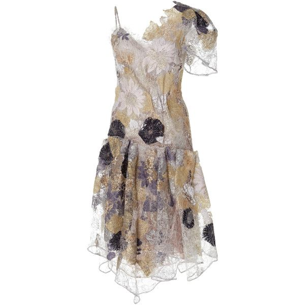 Rodarte Waxed Lace Dropped Waist Dress ($9,890) ❤ liked on Polyvore featuring dresses, multi, one shoulder dress, one shoulder lace dress, lace dress, waist dress and lacy dress