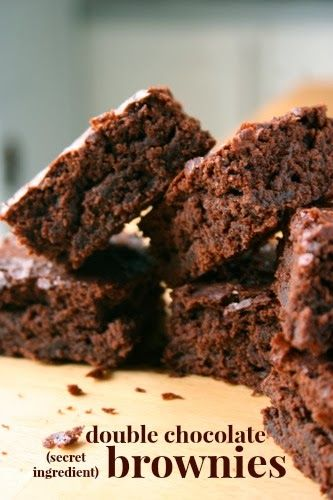 double chocolate (secret ingredient) brownies. super low fat and you'd never know it! #healthydesserts