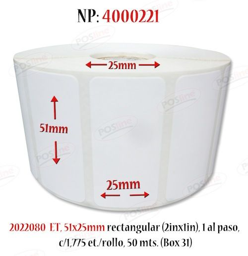 Etiqueta Termica, no requiere Ribbon, se utiliza, para impresoras Zebra , datamax, Sato, Posline, Intermec, etc