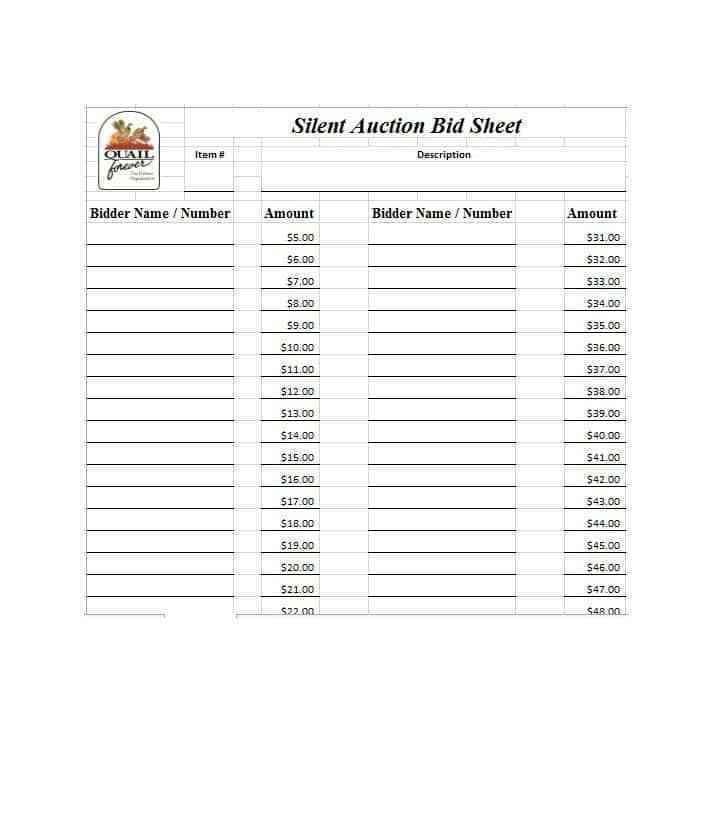 30 Silent Auction Bid Sheet Templates Word Excel Pdf Silent Auction Bid Sheets Auction Bid Silent Auction