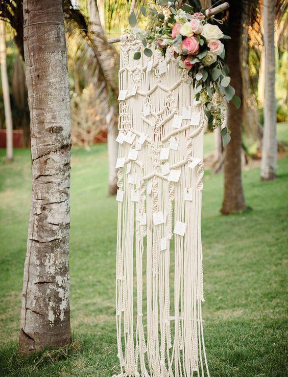Boho macrame wedding seating chart / http://www.deerpearlflowers.com/boho-macrame-knotted-wedding-decor-ideas/