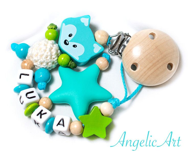 Schnullerketten - Schnullerkette mit Namen - ein Designerstück von angelicart-schnullerkette bei DaWanda