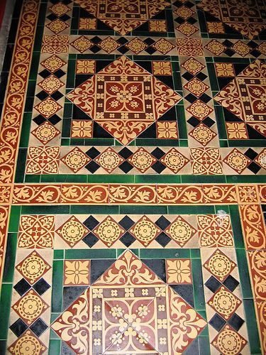 """These Minton tiles are in St. John the Baptist Church in Winster, Derbyshire.  My thanks to Roy Witham, Churchwarden, for permission to photograph inside the Church."""