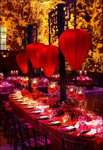 Asian lanterns for wedding reception or Chinese New Year celebration