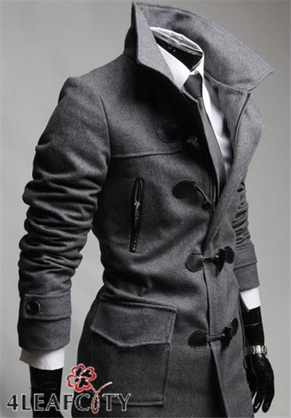 4 Leaf City Men's notched single breasted horn button peacoat. super sexy and sleek