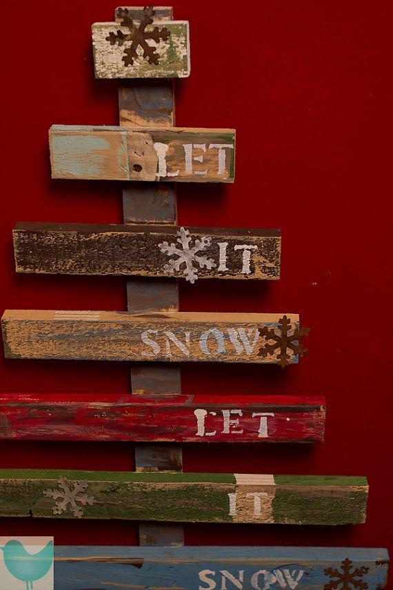 Let It Snow Rustic Christmas tree Pallet Art