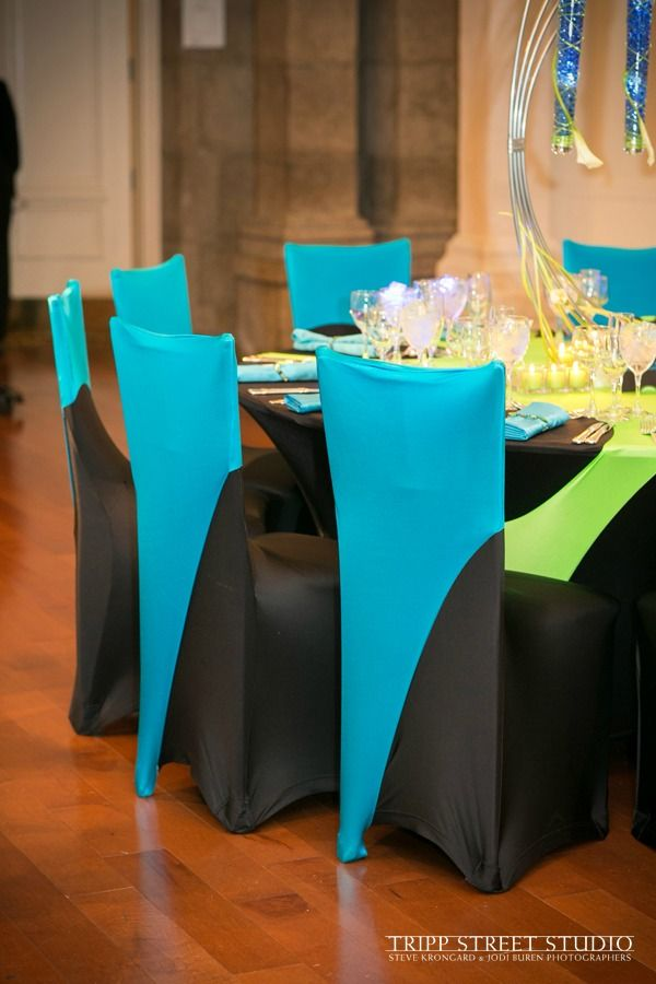 Bar Mitzvah Party Spandex Linens - Chair Covers in Neon Green & Blue, NYC {The Event of a Lifetime} - mazelmoments.com