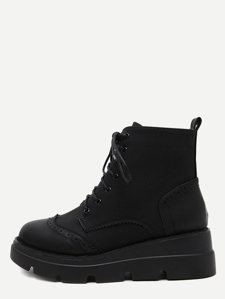 Shop Black PU Wingtip Lace Up Wedge Short Boots online. SheIn offers Black PU Wingtip Lace Up Wedge Short Boots & more to fit your fashionable needs.