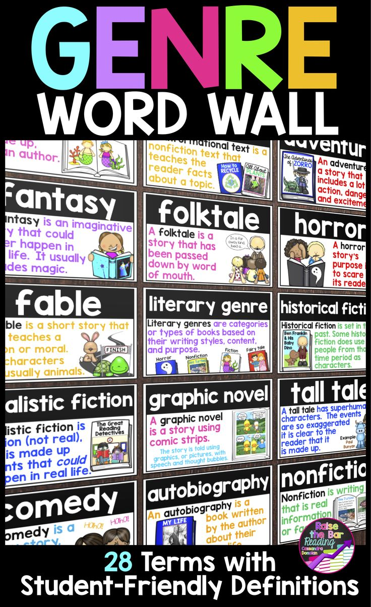 Support your readers with a beautiful, visual genre word wall! 28 genre vocabulary terms are included with 3 different colored printing options! These vocabulary cards can be used as a word wall, genre posters, or for flashcards!