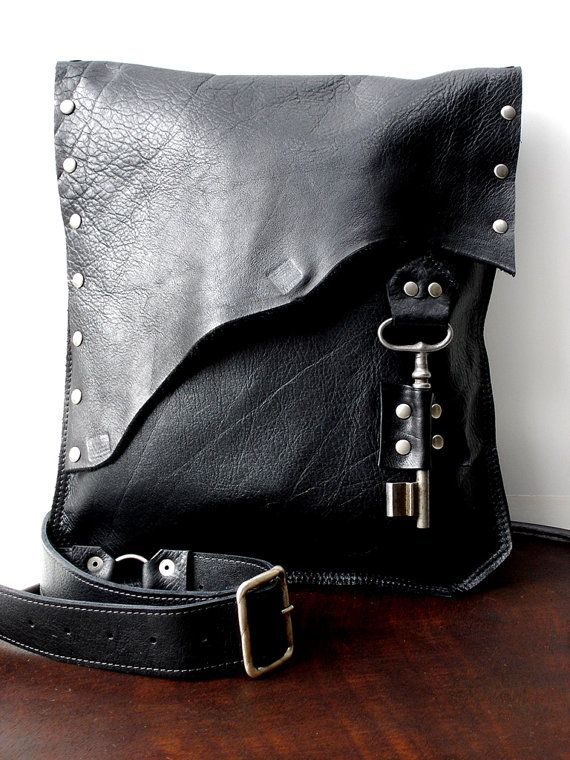 Black Leather Messenger Bag with Antique French Skeleton Key - Large MADE to ORDER - Rocker Biker Steampunk Goth