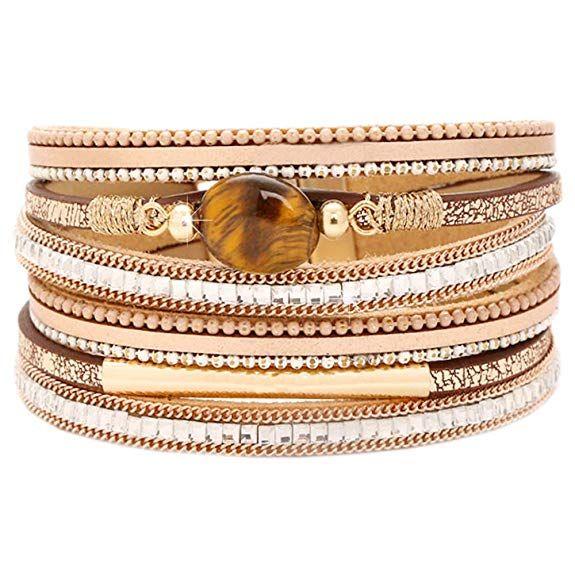 181e21bb07da4 Amazon.com: Tiger Eye Leather Boho Wrap Stacking Bracelets, Cuff ...