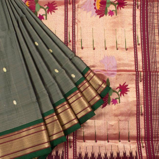 Ghanshyam Sarode Schooner Grey Paithani Silk Handwoven Saree with Paisely Motif…