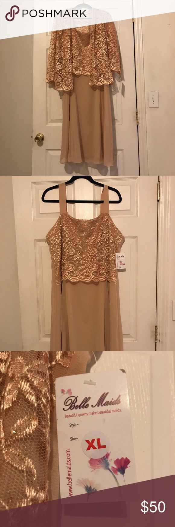 Holiday Party, Mother of the bride, Bridesmaid Gold sparkle lace top sleeveless dress with removable sleeve shawl/coat as seen in photo. Length is below the knee. Never been worn, tags are still attached. Could be worn to a holiday party or for a wedding as a bridesmaid dress or mother of the bride. Lace top and polyester bottom. Sally Dresses Midi