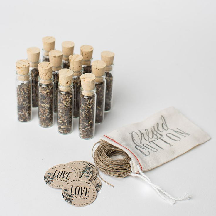 These wildflower seed favors are the perfect parting gift for your guests. Sold in sets of 12, they are a sweet little something guests can take home and plant in their gardens so they will always rem