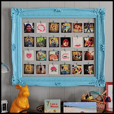 Picture Frame Photo Display  Ehhh on color but awesome idea