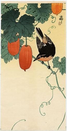 A flycatcher on cucumber bush - Ohara Koson