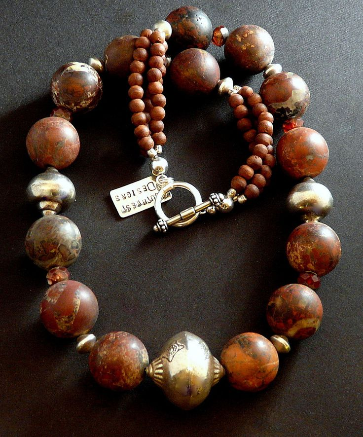 Natural Jasper Round Bead Necklace with Olive Wood, Czech Luster Glass & Sterling Silver Urn Beads