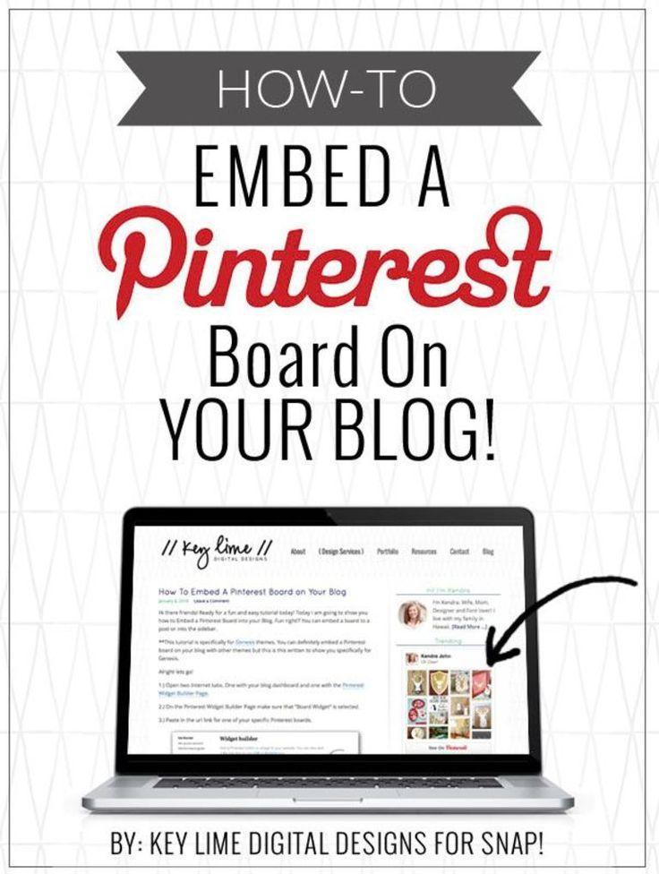 How To Add A Pinterest Board in a Blog Post - www.keylimedigitaldesigns.com