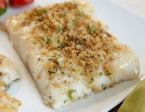 Baked cod loin; 1T mayo; 1T Parmesean; Panko; S & P Preheat to 425. Rinse fish & pat dry. Line cookie sheet with foil, spray with oil. Place fish on foil. Mix mayo & parm add pepper. Spread on fish. Press crumbs into mayo mix. S & P. Bake 7 minutes, rotate pan, bake another 7-8 minutes. Sprinkle lemon juice on plate. Plate fish on lemon juice. very good. panko never gets brown tho, sprayed oil on top