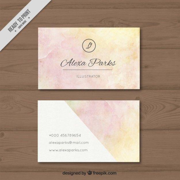 tarjeta de visita de la acuarela con tonos suaves Vector Gratis