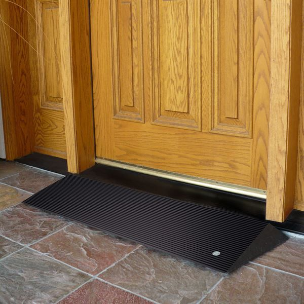 Provide a gradual transtion from floor to door threshold with these 100% recycled rubber threshold ramps!