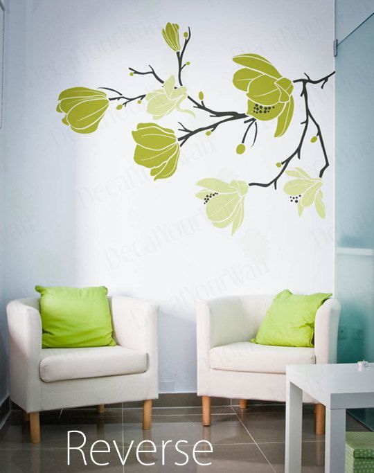 Magnolia Flower Blossom Decal Large Tree Branch Stickers Floral Wall Art  Home Decor Decals Removable Vinyl Sticker Living Room Bedroom Part 33