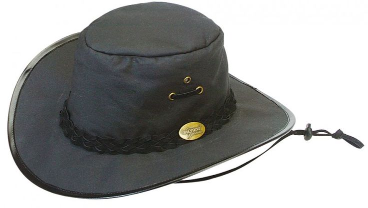 1026 Knockabout Black.  Oiled Cotton Hat by Jacaru: Leather Hatband, chinstrap, Brass Jacaru Badge.