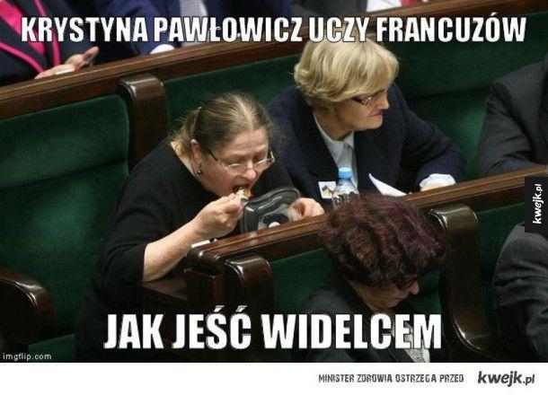 Krystyna Pawłowicz uczy Francuzów, jak jeść widelcem