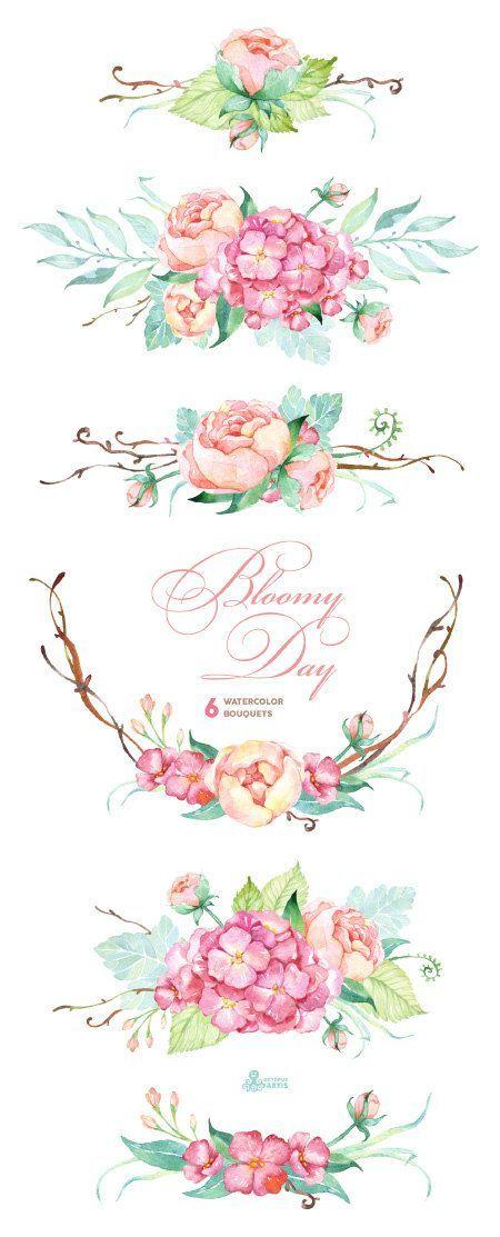 Bloomy Tag: 6 Aquarell-Blumensträuße, Hortensien, Pfingstrosen, Hochzeitseinladung, Blumenrahmen, Grußkarte, diy Cliparts, Blumen, Mint und rosa