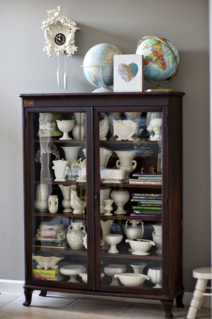 I Have A Dark Cabinet AND I Have A Lot Of White McCoy Pottery, And This  Look Is Beautiful.