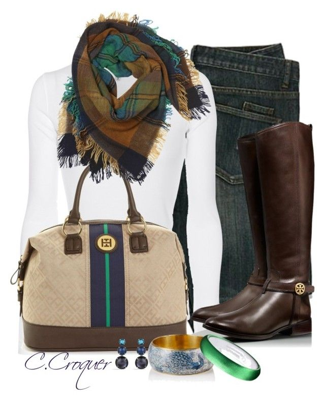 """""""White Top & Scarf"""" by ccroquer ❤ liked on Polyvore featuring Splendid, Tommy Hilfiger, Contileoni, Tory Burch and David Yurman"""