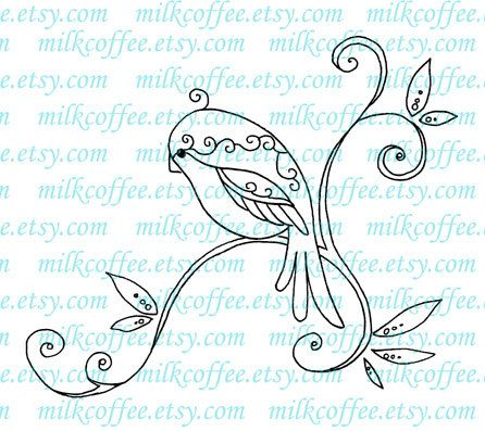 Digital Stamp Swirly Bird