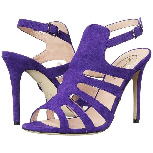 SJP by Sarah Jessica Parker Zofia Women's Sandals ($275) ❤ liked on Polyvore featuring shoes, sandals, purple, leather sole shoes, high heel shoes, strappy sandals, open toe high heel sandals and sjp