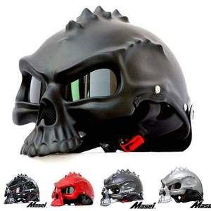 Dual Use Skull Motorcycle Helmet Capacete Casco Masei 15 color 489 Novelty Retro Casque Motorbike Half Face Helmet free shipping
